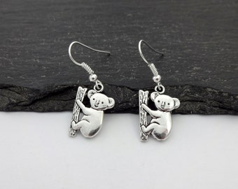 Koala Earrings, Charm Earrings, Koala Gifts, Animal Earrings, Koala Jewellery, Animal Jewelry, Koala Jewelry, Koala Gift, Koala Bear