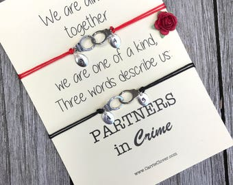 Partners in crime, BFF bracelet set, Handcuff bracelet, Matching bracelets, Partner in crime, Best friend gift, Friendship bracelet set, A40