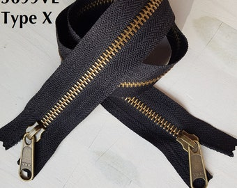 BAG, zipper Metal not Separable zipper closure Double sliders free YKK Type X or O 25cm to 95cm long