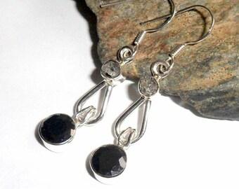 Herkimer Diamond and Black Onyx Earrings earthegy #2401