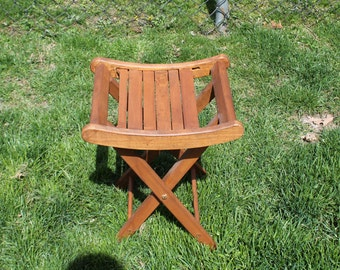 Wooden Folding Bench / Stand / Stool - Fishing / Camping / Gardening Stool - Display / Plant Stand