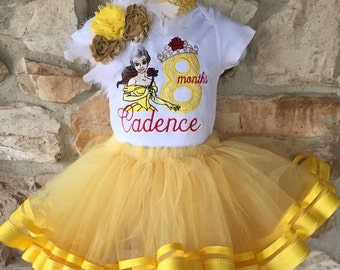 Birthday Theme Shirt Belle Beauty and the Beast Disney Princess Tutu Set