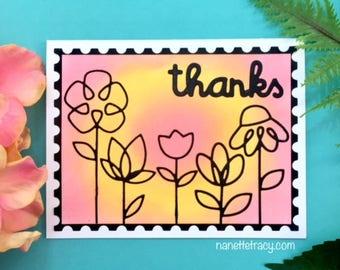 C032 - Sillhouette Flower Handmade Thanks Greeting Card - Thank You Card