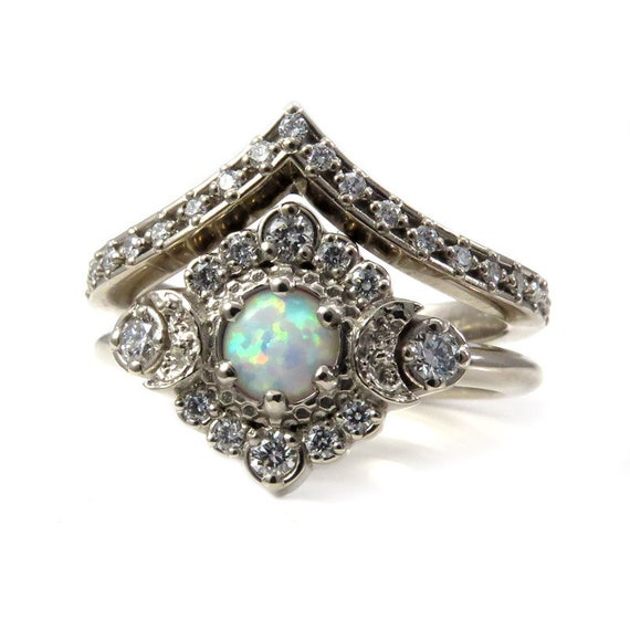 Lab Opal Moon Halo Engagement Ring Set- Celestial Wedding Rings with Star Chevron Wedding Band