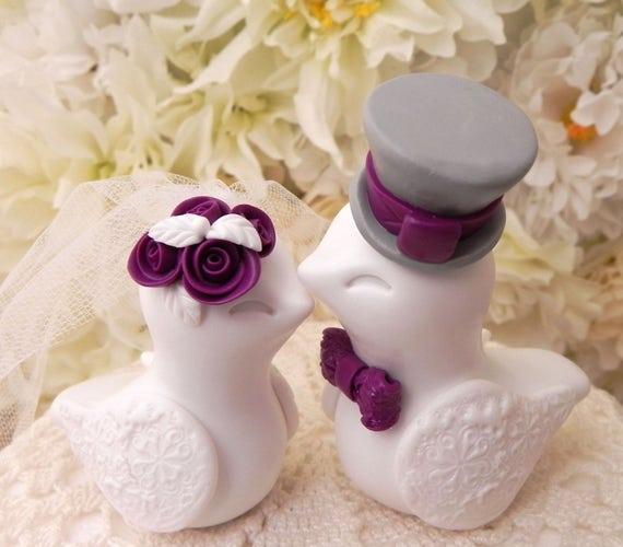 Love Birds Wedding Cake Topper, White, Plum and Grey, Bride and Groom Keepsake, Fully Customizable