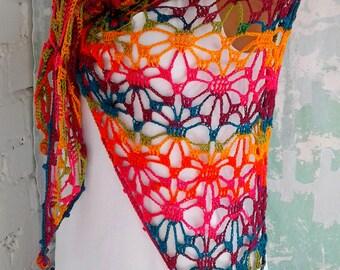 Boho crochet shawl Gypsy shawl Crochet shawl Lace crochet shawl Beach shawl Rainbow crochet shawl  Boho shawl Bohemian shawl Triangle shawl