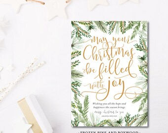 Frozen Pine and Boxwood Printed Holiday Cards | JOY wishes | Christmas or Holiday | Printed or Printable by DarbyCards