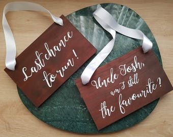 Personalise your flowergirl sign, Handpainted Wooden Flower girl, Page boy or Ring bearer here comes the bride wedding sign