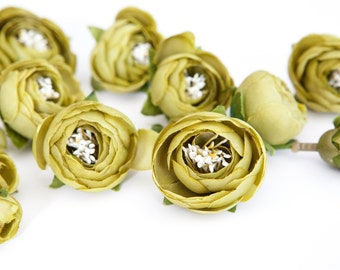 15 Small Mini Ranunculus in Olive Green - silk artificial flower, millinery flower - ITEM 0356