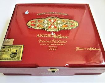 Large Red Cigar Humidor Angels Share Cigar Box Jewelry Box Guitar Making Craft Supply Chateau de la Fuente Dominican Republic Storage Box