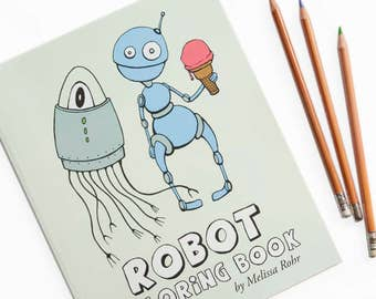 Robot Coloring Book, Robots & Cyborgs to Color, Cute Mechanical Coloring Pages, Robot Gift