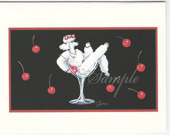 White Poodle in Champagne Glass Cherries 6 Note Cards with Envelope