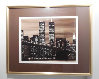 Vintage Serge Lurie Brooklyn Bridge At Night Photograph Wall Art Signed Titled Framed Matted Features New York Twin Towers In Photograph