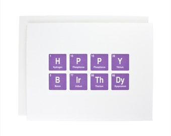 Happy Birthday greeting card, periodic table, chemistry, geeky, birthday, bday, purple