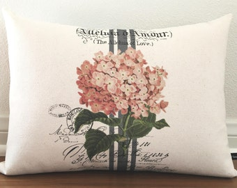 Pink Hydrangea pillow cover Spring Summer French ephemera floral flower 12x16 canvas cottage chic cushion #253 FlossieandRay