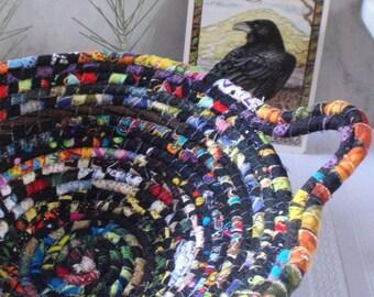 Black Gypsy - Coiled Fabric Bohemian Basket - Handmade by Me