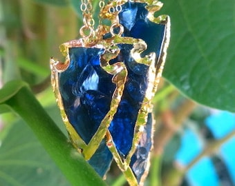 Mother's Day Promo- 24K Gold Electroplated Arrowhead Necklace, Stone Necklace, Blue Glass Arrowhead Necklace, Electroplated Arrowhead