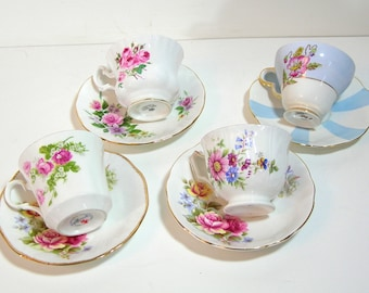 English Tea Cup Collection, Set of Four Assorted