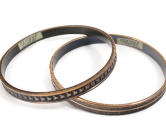 Copper Bangles - Set of 2 1960's Genuine Copper Bangles - Copper Bracelets - Native American Jewelry