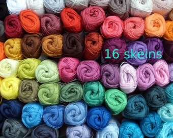 Cotton yarn 16 skeins * Catania * 800 gram in total * quality crochet yarn * each 50 gram * free colorchoice * 96 colors, smc schachenmayr