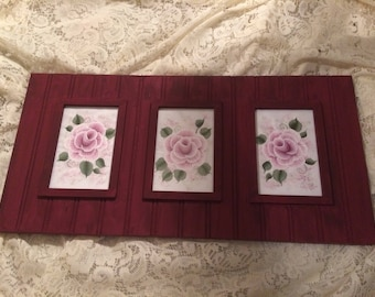 Victorian Shabby Cottage Chic  Hand Painted Pink Rose Wooden  Art New
