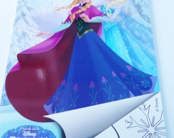 set of stickers and coloring format A4 color book stickers Frozen snow Queen