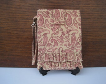 CLEARANCE Kindle Old Keyboard Style Reader Case,  Ruffled, Paisley Kindle Case, Reader Case, Burgundy Paisley, Wristlet, Kindle Protector
