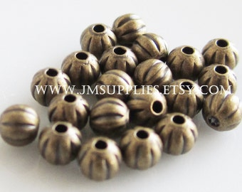 Bead, Antiqued Gold 3mm Corrugated Round