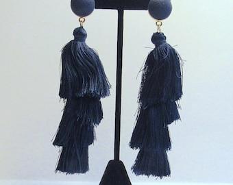 ON SALE Navy Blue Fringe Earrings