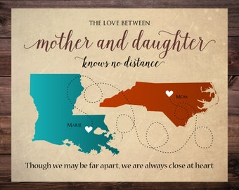 Christmas Gift for Mom, Long Distance Mother Daughter Map,  Personalized Map for Mother and Daughter Living Far Away, Gift for Mother