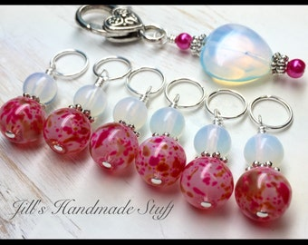 Sea Opal Heart Stitch Marker Holder & Snag Free Stitch Markers- Gifts For Knitters- Beaded Knitting Markers