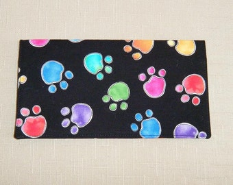 Checkbook Cover - Colored Pawprints on black2