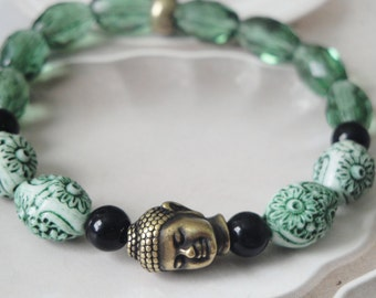 Enlightenment  Brass Buddha And Bead Zen Bracelet