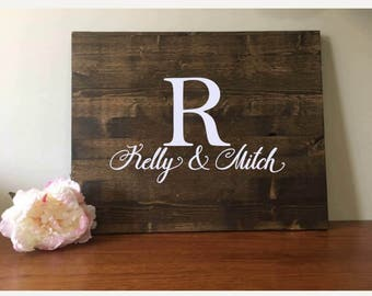 Wedding Guestbook/Alternative Guestbook/Wood Guestbook/Rustic Wood Guestbook/Rustic Wedding/Last Name Initial & first names guestbook/24x30