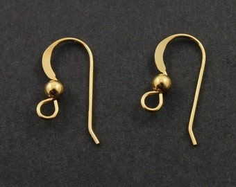 """24K Gold Vermeil over Sterling Silver Round Ear Wire with 3mm/Ball, .025""""/ 22GA, 1 Piece, Sold INDiVIDUALLY, Buy as many you need, (VM/6003)"""