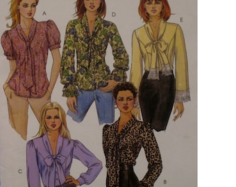 Tie Neck Blouse Pattern, Full Sleeves, Ruffle Sleeves, Princess Seams. Button Front, McCalls No. 4921 UNCUT Size 14 16 18 20