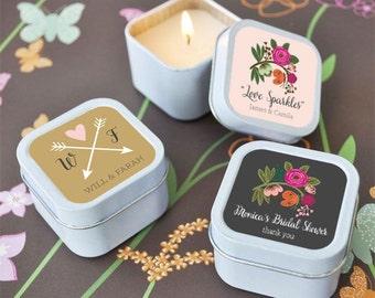 Candle Favors - Bridal Shower Candles Unique Bridal Shower Favors Personalized Rustic Candles  (EB2077MP) - set of 12|
