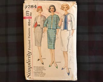1960s Simplicity 3784 bust 38 suit with jacket and skirt