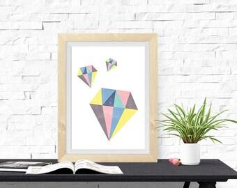 Geometric Design Multicolor Diamonds 8x10 inch Poster Print - P1213