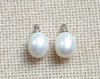 Freshwater Pearl Pendant. Pearl Charm. Pearl Charm Pendant. White Pearl. Drop Pearl. Earrings Charm. Matching Earring Pair. 9-10mm, 2pcs