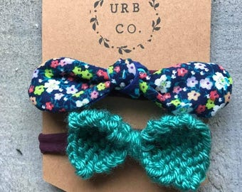 Floral and Teal Knit bow Infant headband