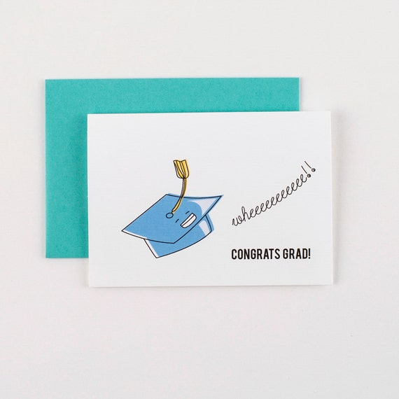 Flying Graduation Hat  Congrats Greeting Card