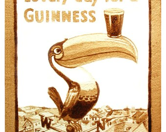 beer art, Vintage Guinness Poster, painted using only beer,  vintage, poster, ad, toucan, England, stout, lovely, pub art