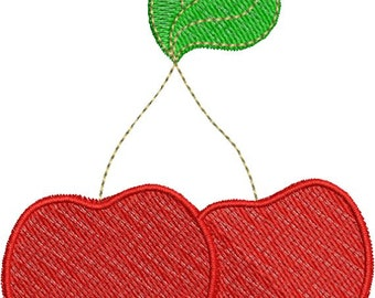 Cherries Cherry Fruit with fill Machine Embroidery Designs 4x4 & 5x7 Instant Download Sale