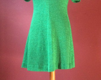 1970s Emerald Green Lurex Dress