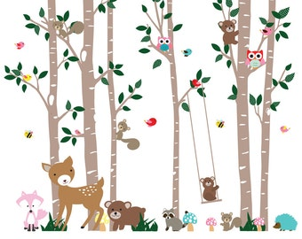 Nursery Wall Decal Birch Tree Decal tree vinyl decal children wall decal birch forest tree decal