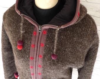 LAUNDROMAT WOOL & Fleece Zip-up Women's Flower SWEATER Made in Nepal L Sz M