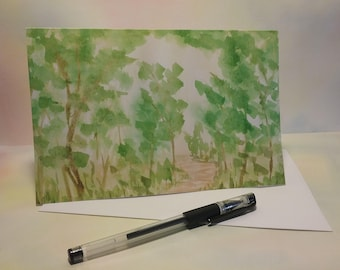Watercolor Greeting Card - Large (A9) w/envelope - Forest Walk - Blank inside