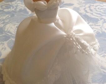 Beautiful handmade 1/12 th scale dollhouse wedding dress