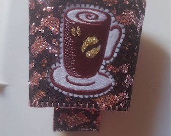 Sparkly Pink/Black Reusable Coffee Sleeve